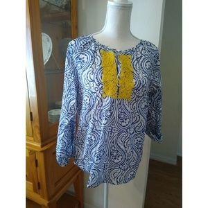 MP Talbots blue and white top with yellow beads